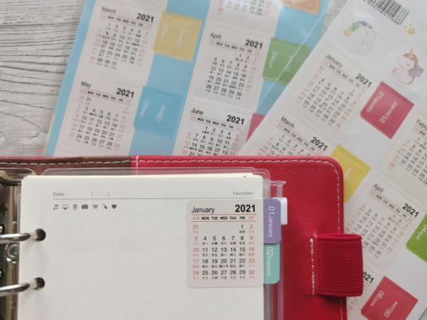 Цветные календарные наклейки-разделители на 2021 год
